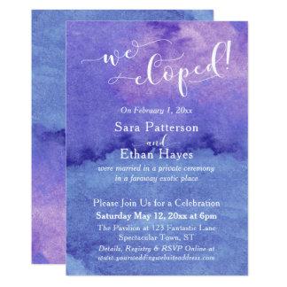 Cartão Aguarela roxa e azul nós Eloped recepção