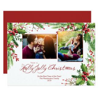 Cartão Aguarela verde vermelha dois do azevinho Natal de