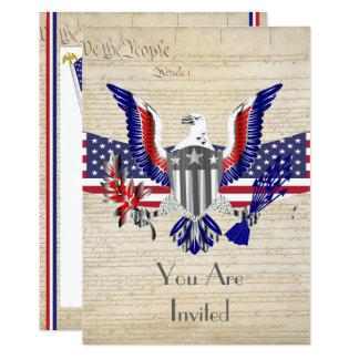 Cartão Águia, bandeira e constituição americanas