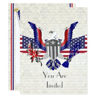 Cartão Águia, bandeira e protetor americanos patrióticos