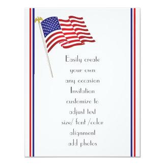 Cartão Águia e bandeira americanas patrióticas