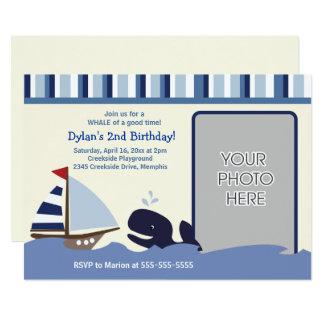 Cartão Ahoy foto do aniversário da baleia do marinho do