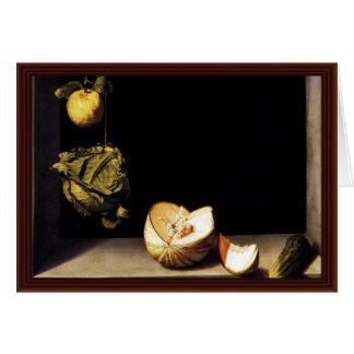 Cartão Ainda vida com couve do marmelo e melão do pepino