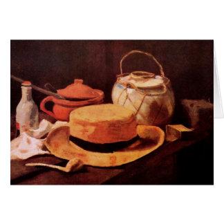 Cartão Ainda vida com o chapéu de palha amarelo por Van