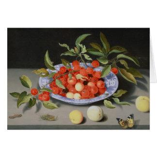 Cartão Ainda vida das cerejas e dos pêssegos