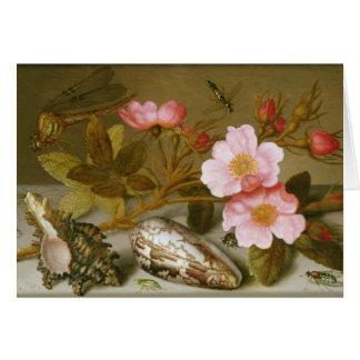 Cartão Ainda vida que descreve flores