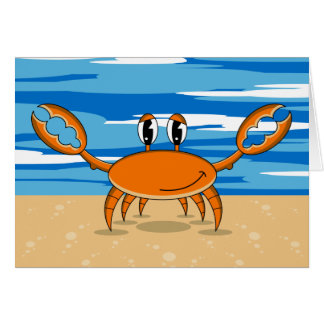 Cartão alaranjado bonito do caranguejo