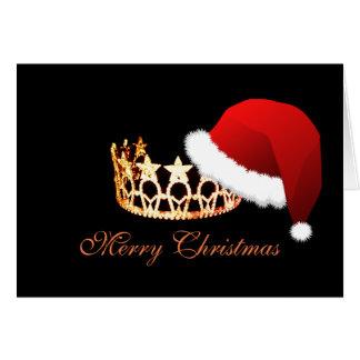 Cartão alaranjado da coroa do chapéu do papai noel