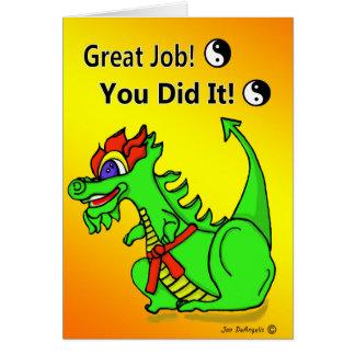 Cartão alaranjado da promoção da correia do dragão