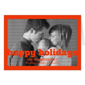 Cartão alaranjado da tipografia boas festas