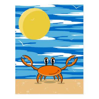 Cartão alaranjado do caranguejo da praia