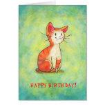 Cartão alaranjado do gato (customizável)