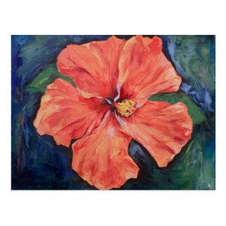 Cartão alaranjado do hibiscus