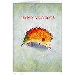 Cartão alaranjado do ouriço (customizável)