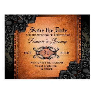 Cartão alaranjado & preto gótico da data das