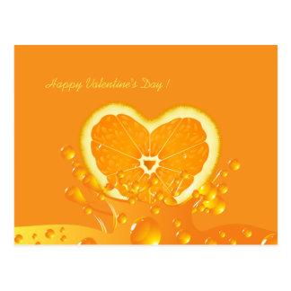 Cartão alaranjado suculento do dia dos namorados