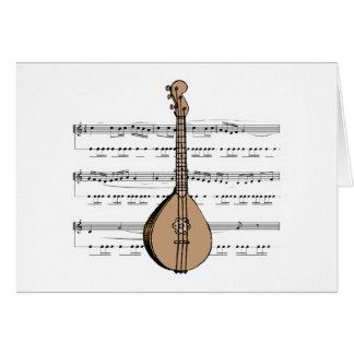 Cartão alaúde e partitura do bandolim