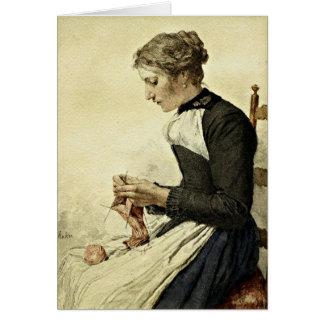 Cartão Albert Anker - confecção de malhas da jovem mulher