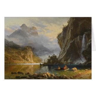 Cartão Albert Bierstadt - pesca da lança dos indianos
