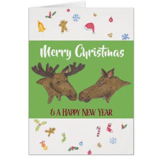 Cartão Alces do Feliz Natal
