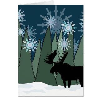 Cartão Alces na floresta nevado