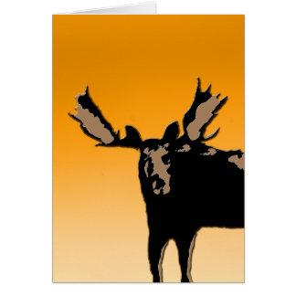 Cartão Alces no por do sol - arte original dos animais