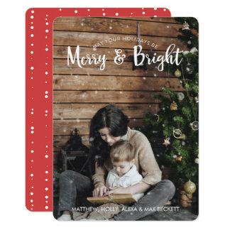 Cartão alegre & brilhante do feriado com neve convite 12.7 x 17.78cm