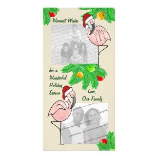 Cartão alegre da foto dos flamingos cartoes com foto