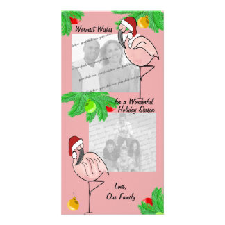 Cartão alegre da foto dos flamingos cartao com fotos