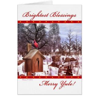 Cartão alegre do cardeal do inverno das bênçãos de