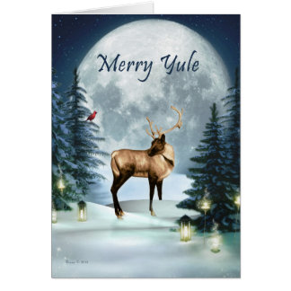 Cartão alegre do feriado do veado do inverno de