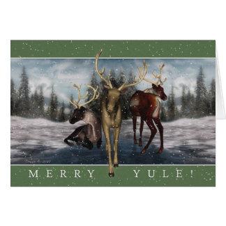 Cartão alegre do veado do inverno de Yule