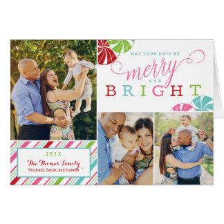 Cartão alegre e brilhante do feriado com listras