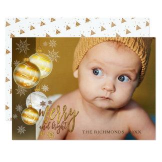 Cartão Alegre e brilhante, ouro & Brown, uma foto
