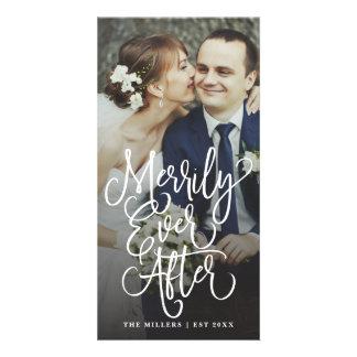 Cartão Alegre nunca após Wedding a foto do cheio do