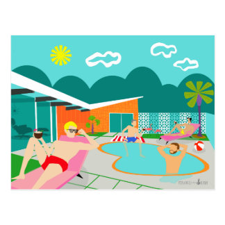 Cartão alegre retro da festa na piscina