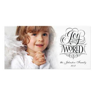 Cartão Alegria à caligrafia religiosa do Natal do mundo