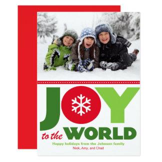 Cartão Alegria à foto vermelha & verde do mundo do