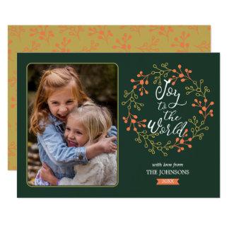 Cartão Alegria à grinalda moderna do feriado da
