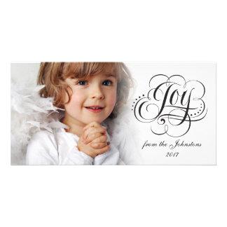 Cartão Alegria à rotulação do Natal da caligrafia do