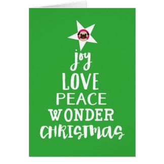 Cartão Alegria, amor, paz, maravilha, Pug da estrela da