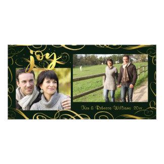 Cartão ALEGRIA, Flourish elegante do ouro no Evergreen