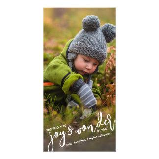 Cartão Alegria & maravilha do Natal da foto do feriado