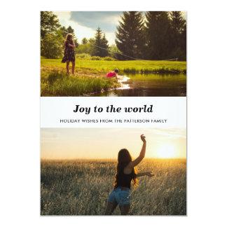 Cartão Alegria minimalista ao feriado das fotos do mundo