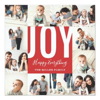 Cartão Alegria sem emenda de 12 fotos feliz tudo vermelho