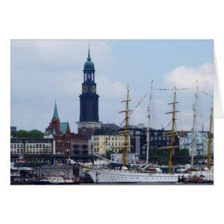 Cartão Alemanha Schiffe de Hafen Michel do porto de