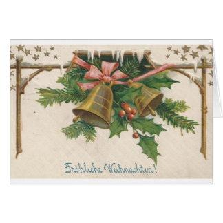 Cartão alemão de Bels de Natal do vintage