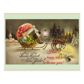 Cartão alemão do cogumelo dos duendes do ano novo