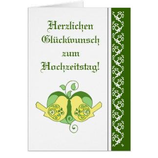 Cartão Alemão floral do pássaro do coração dos parabéns