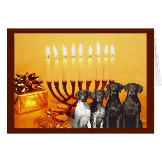 Cartão alemão Menorah2 de Chanukah do ponteiro de